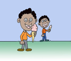 Ninos con helado color