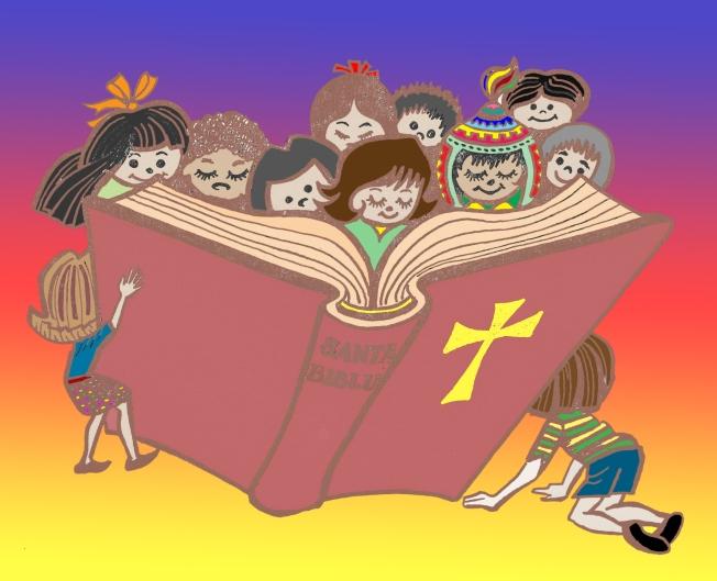 Niños y Biblia color x