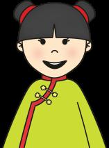 niña chinita elegre